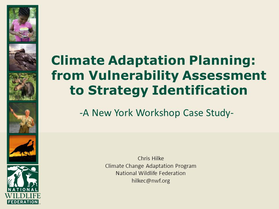 Climate Adaptation Planning: from Vulnerability Assessment to Strategy Identification -A New York Workshop Case Study- Chris Hilke Climate Change Adaptation Program National Wildlife Federation hilkec@nwf.org