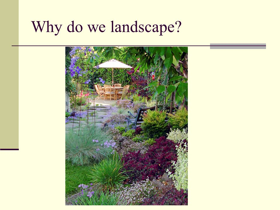 Why is it important to landscape.