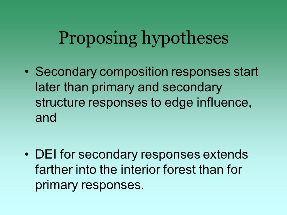 Proposing hypotheses Secondary composition responses start later than primary and secondary structure responses to edge influence, and DEI for secondary responses extends farther into the interior forest than for primary responses.