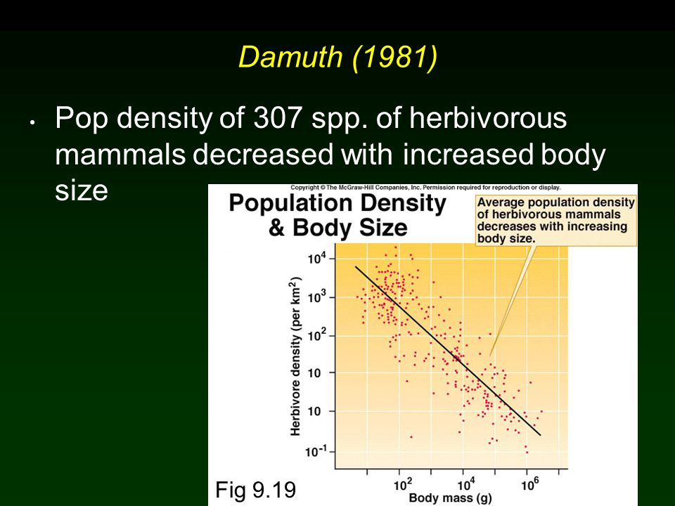 Molles: Ecology 2 nd Ed.Damuth (1981) Pop density of 307 spp.