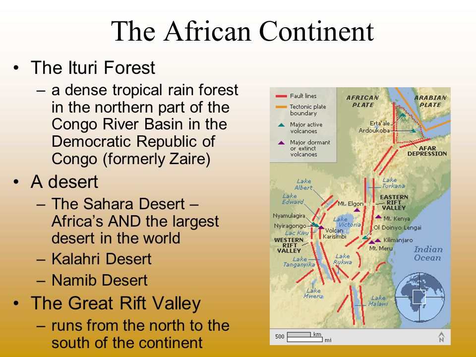 The African Climate –Alternating wet and dry season –Rain is distributed unevenly –From less than an inch to more than 80 inches –Northern and Southern Hemispheres almost symmetrical –six general climatic regions Tropical –Tropical Wet –Tropical Wet and Dry Dry –Desert –Semiarid Mid Latitude –Mediterranean –Marine west coast –Humid Subtropical Highland