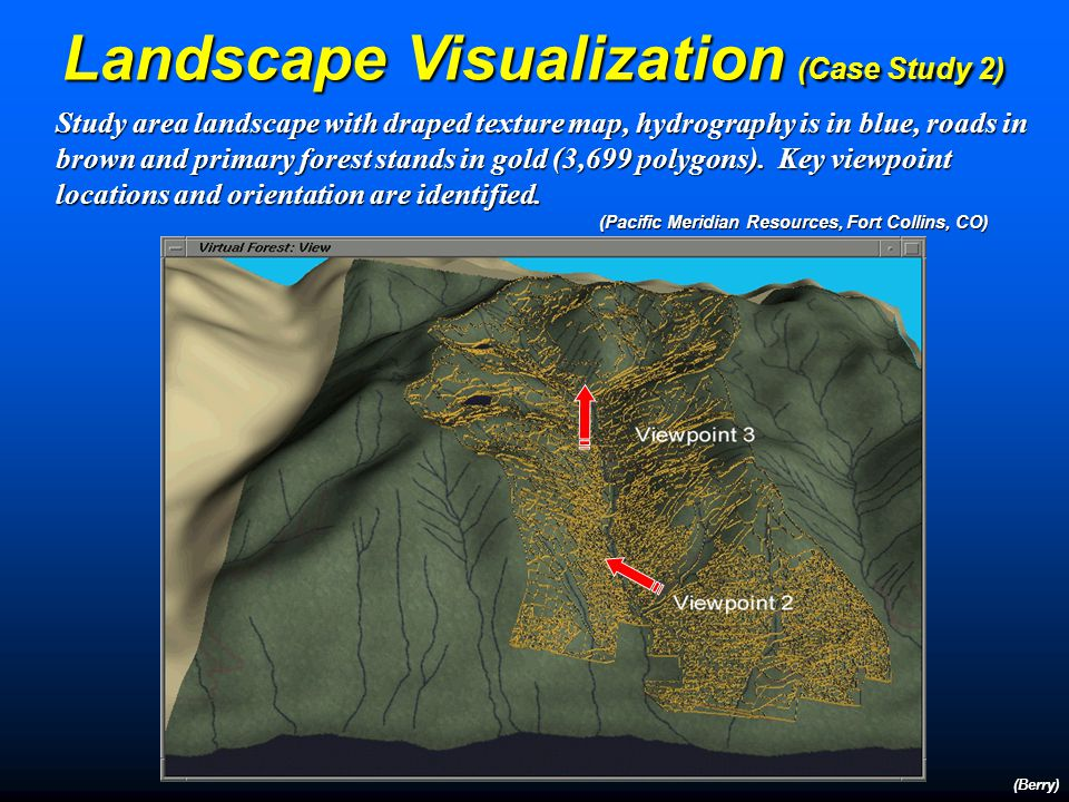 Landscape Visualization (Case Study 2) (Berry) Most Similar Neighbor analysis using canonical correlation was applied to find the best correspondence between the intensively inventoried subset of the landscape, about 20-25% of stands, and a less intensively sampled classified remotely sensed image… …the classified map was combined with the DEM and an older Aerial photo interpreted derived inventory, to generate an updated inventory (1999) for each forest stand.