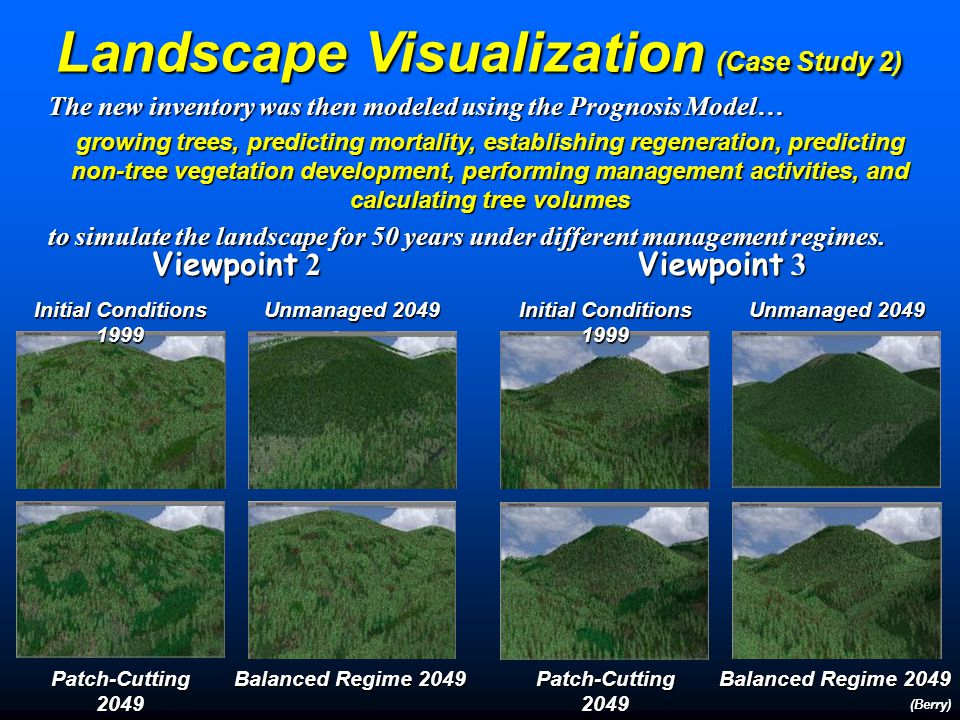 Landscape Visualization (Case Study 2) (Berry) Study area landscape with draped texture map, hydrography is in blue, roads in brown and primary forest