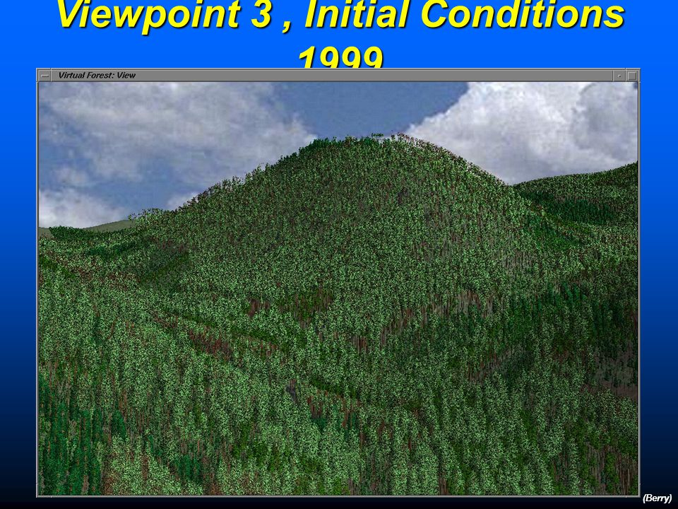 Landscape Visualization (Case Study 2) (Berry) Viewpoint 2 Initial Conditions 1999 Unmanaged 2049 Patch-Cutting 2049 Balanced Regime 2049 Initial Conditions 1999 Unmanaged 2049 Patch-Cutting 2049 Balanced Regime 2049 Viewpoint 3 The new inventory was then modeled using the Prognosis Model… growing trees, predicting mortality, establishing regeneration, predicting non-tree vegetation development, performing management activities, and calculating tree volumes to simulate the landscape for 50 years under different management regimes.