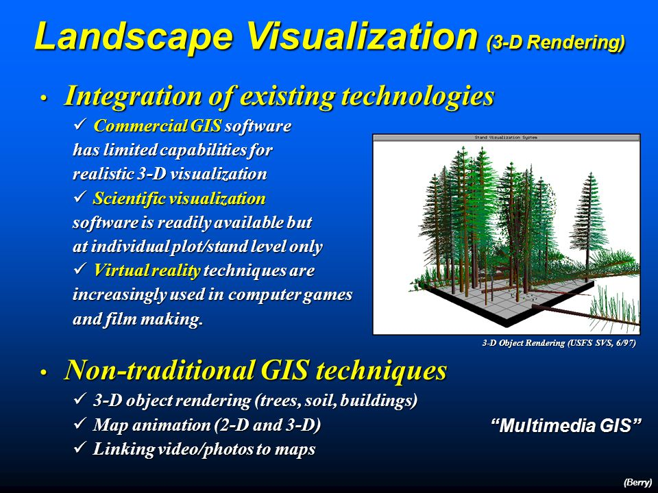 Integration of existing technologies Integration of existing technologies Commercial GIS software Commercial GIS software has limited capabilities for realistic 3-D visualization Scientific visualization Scientific visualization software is readily available but at individual plot/stand level only Virtual reality techniques are Virtual reality techniques are increasingly used in computer games and film making.