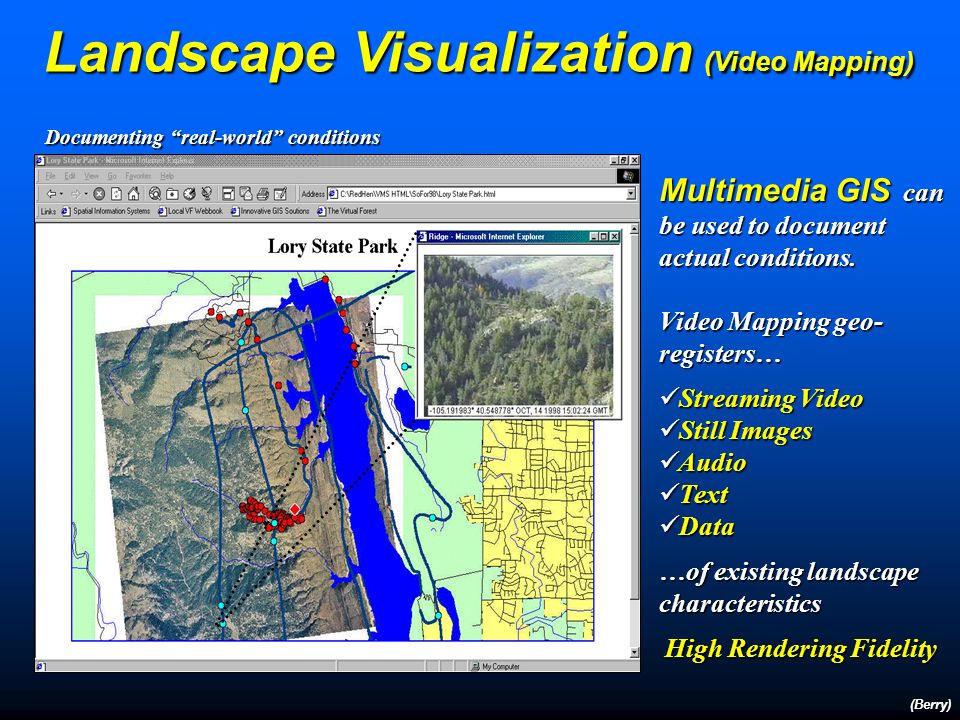 Landscape Visualization Summary (Berry) GIS technology provides a new environment for more effectively communicating landscape characteristics and con
