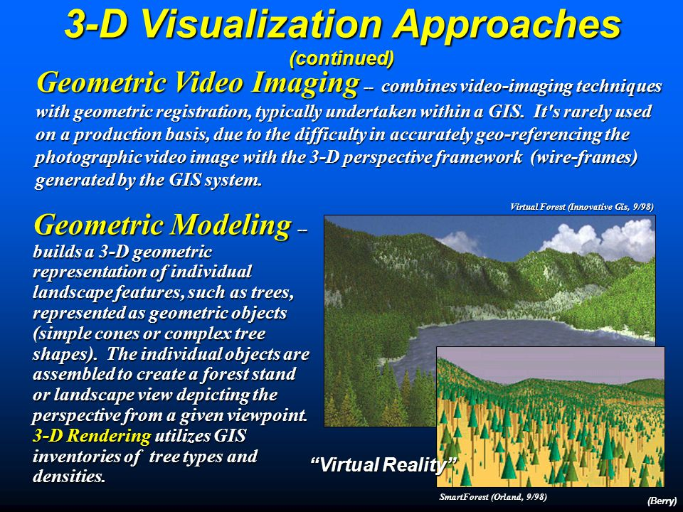 Video Imaging -- is a computer technique that cuts-and-pastes digital photographic images to represent changes on the landscape.