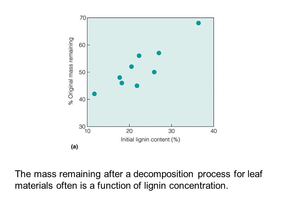 The mass remaining after a decomposition process for leaf materials often is a function of lignin concentration.