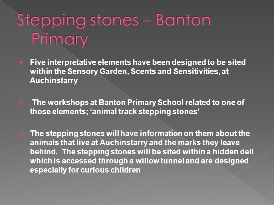  Five interpretative elements have been designed to be sited within the Sensory Garden, Scents and Sensitivities, at Auchinstarry  The workshops at Banton Primary School related to one of those elements; 'animal track stepping stones'  The stepping stones will have information on them about the animals that live at Auchinstarry and the marks they leave behind.
