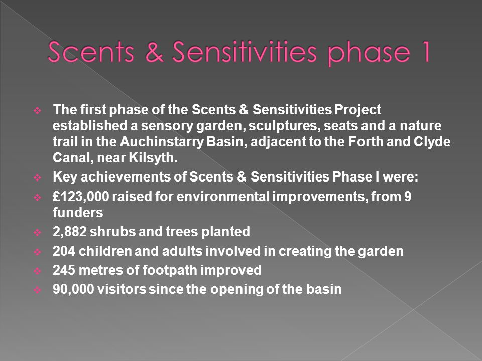  The first phase of the Scents & Sensitivities Project established a sensory garden, sculptures, seats and a nature trail in the Auchinstarry Basin, adjacent to the Forth and Clyde Canal, near Kilsyth.