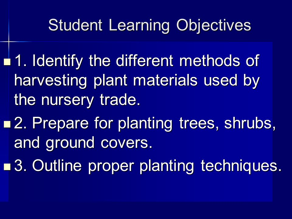 Student Learning Objectives 1.
