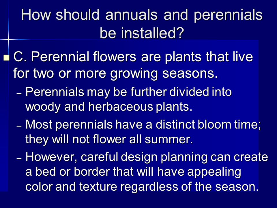How should annuals and perennials be installed. C.