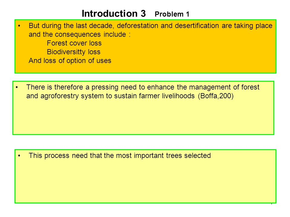 4 But during the last decade, deforestation and desertification are taking place and the consequences include : Forest cover loss Biodiversitty loss And loss of option of uses There is therefore a pressing need to enhance the management of forest and agroforestry system to sustain farmer livelihoods (Boffa,200) This process need that the most important trees selected Problem 1 Introduction 3