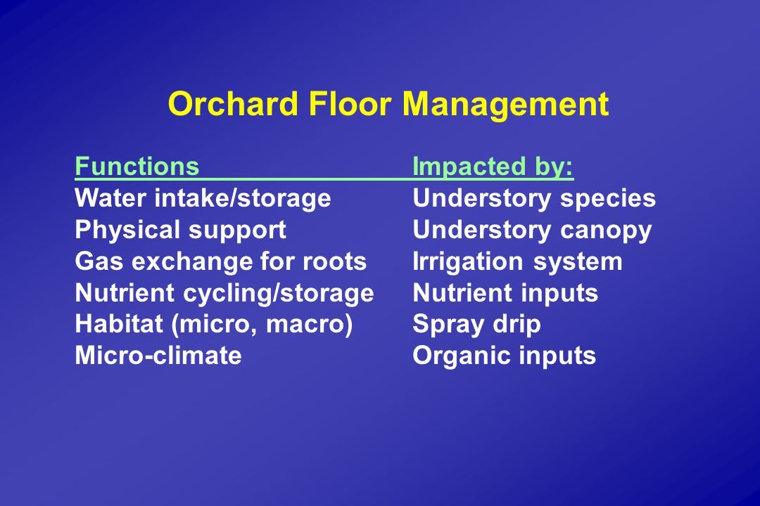Orchard Floor Management Review Microclimate:  soil temperature inverse to the amount of herbage or mulch  plant mulch dampens extremes of daily soil temperature  plant cover reduces minimum air temperature by 0.5-1.0 o C  bare, compacted wet soil raised minimum air temperature by as much as 2 o C  dwarf rootstocks grow best at 14 o C vs.