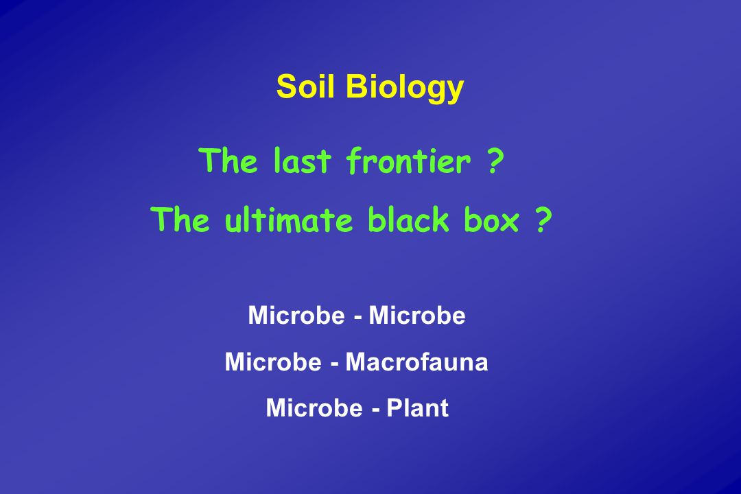 Soil Biology The last frontier . The ultimate black box .