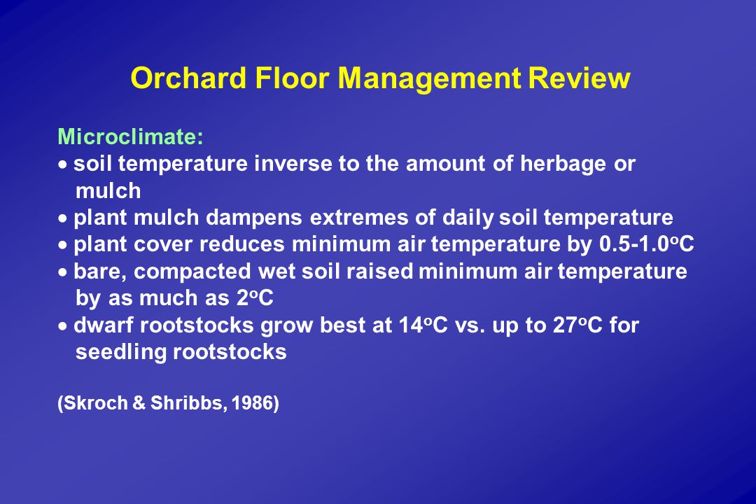 Orchard Floor Management Review Soil quality:  avoid cultivation  favorable soil effects: legumes > grass > mulch > bare ground > cultivation Water:  soil moisture availability mulch > bare soil > minimal cultivation > grass > legumes >continuous cultivation  mowing decreases water use (Skroch & Shribbs, 1986)