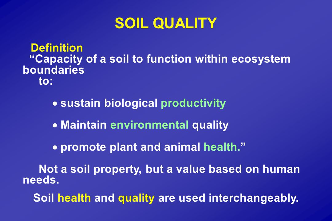 Soil Quality Index Function: Facilitate water transfer and absorption Weight Indicator:Water filled pore space0.40 Porosity (0-15 cm)0.30 Organic C (0-15 cm)0.15 Earthworms0.15 (Glover et al., 1998)