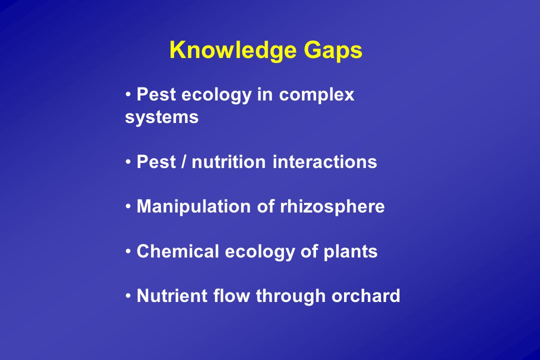 Knowledge Gaps Pest ecology in complex systems Pest / nutrition interactions Manipulation of rhizosphere Chemical ecology of plants Nutrient flow through orchard