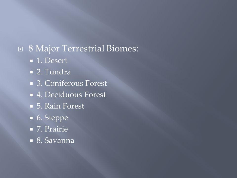  8 Major Terrestrial Biomes:  1. Desert  2. Tundra  3.