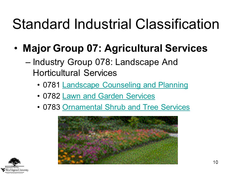 10 Standard Industrial Classification Major Group 07: Agricultural Services –Industry Group 078: Landscape And Horticultural Services 0781 Landscape Counseling and PlanningLandscape Counseling and Planning 0782 Lawn and Garden ServicesLawn and Garden Services 0783 Ornamental Shrub and Tree ServicesOrnamental Shrub and Tree Services