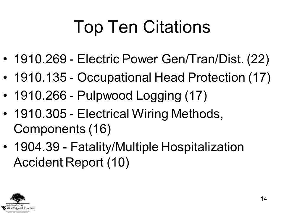 14 Top Ten Citations 1910.269 - Electric Power Gen/Tran/Dist.