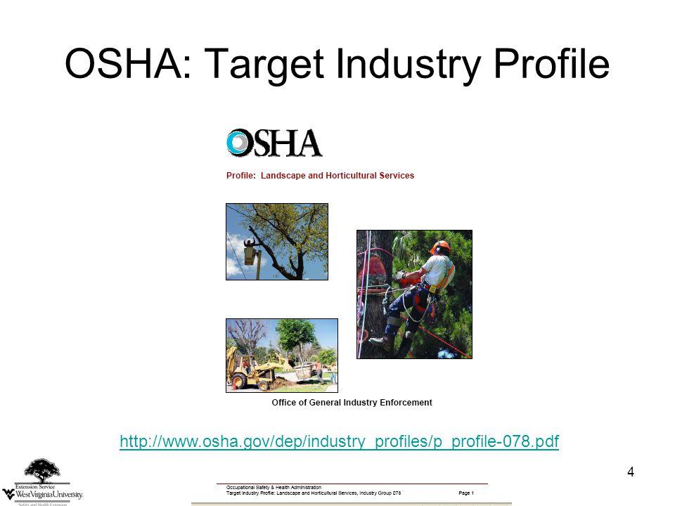 4 OSHA: Target Industry Profile http://www.osha.gov/dep/industry_profiles/p_profile-078.pdf
