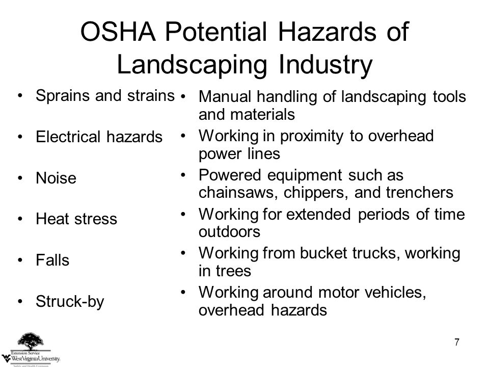 8 Industry Hazards Cuts and Amputations Electrocutions Ergonomics Heat/Cold Stress Lifting and Awkward Postures Motor Vehicles Noise Pesticides/Chemicals Slips, Trips and Falls Weather related hazards