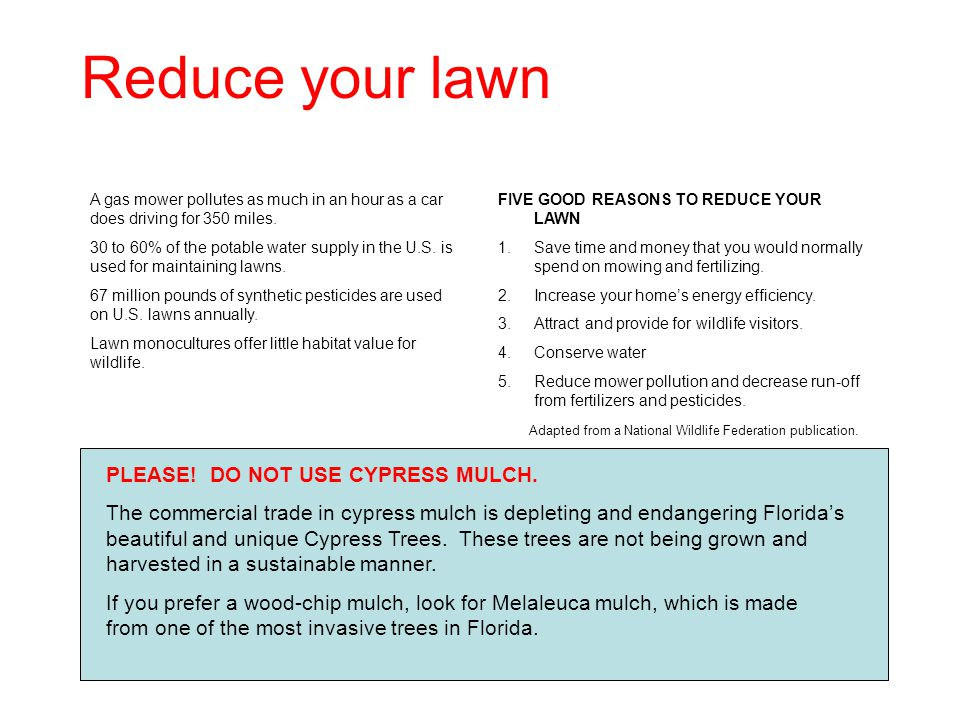 Reduce your lawn A gas mower pollutes as much in an hour as a car does driving for 350 miles. 30 to 60% of the potable water supply in the U.S. is use