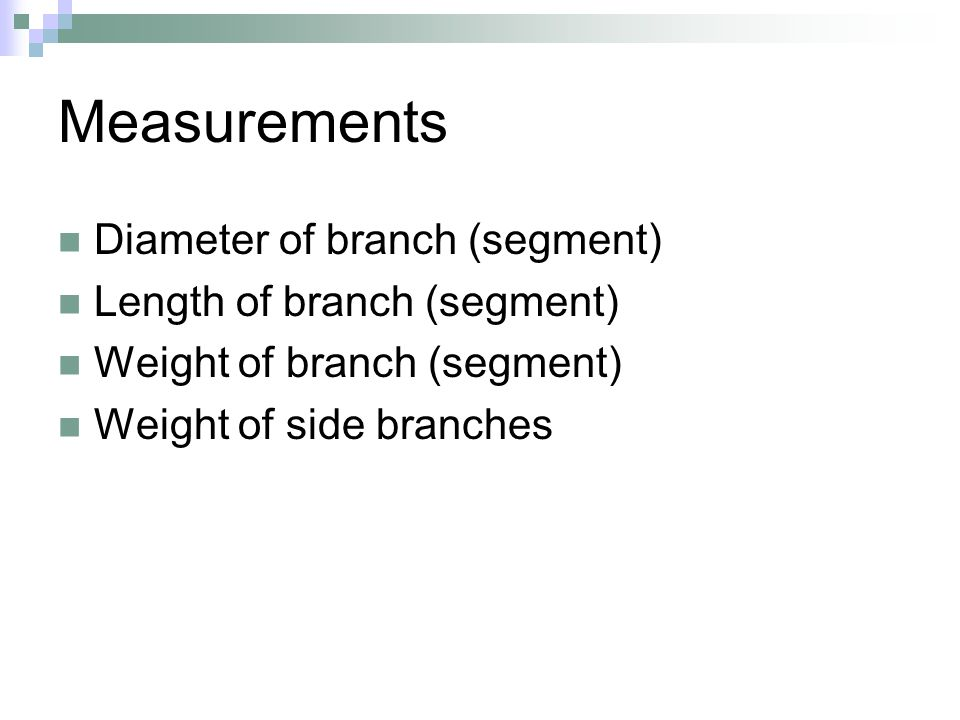 Measurements Diameter of branch (segment) Length of branch (segment) Weight of branch (segment) Weight of side branches