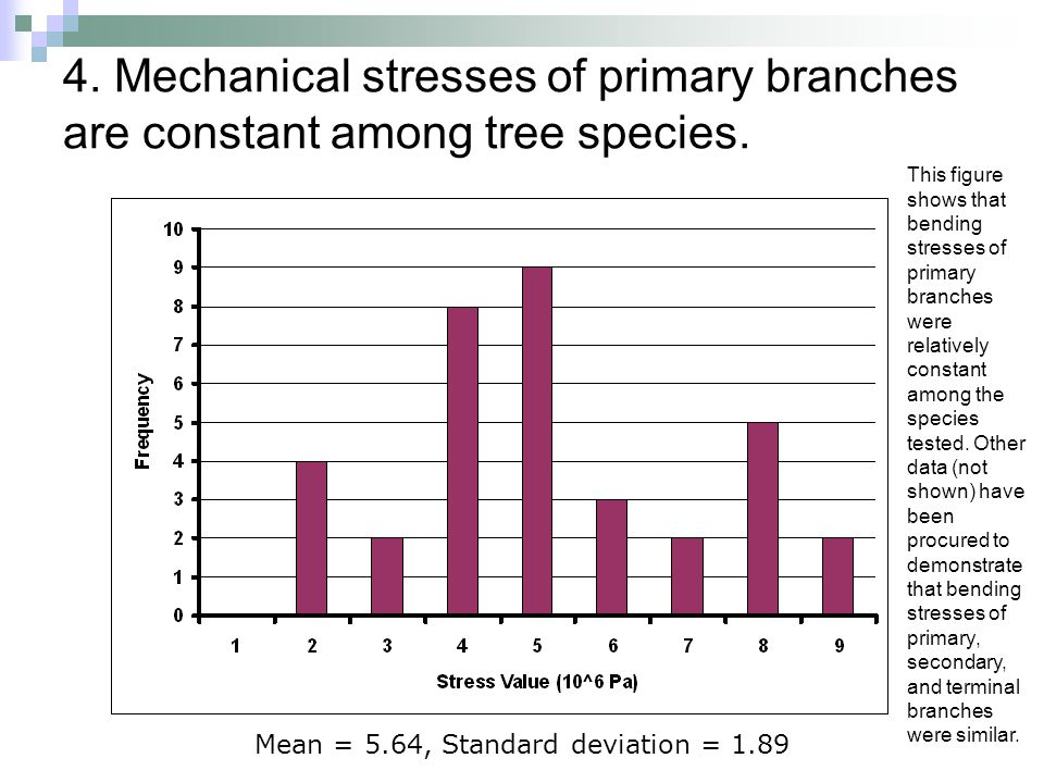 4. Mechanical stresses of primary branches are constant among tree species. Mean = 5.64, Standard deviation = 1.89 This figure shows that bending stre