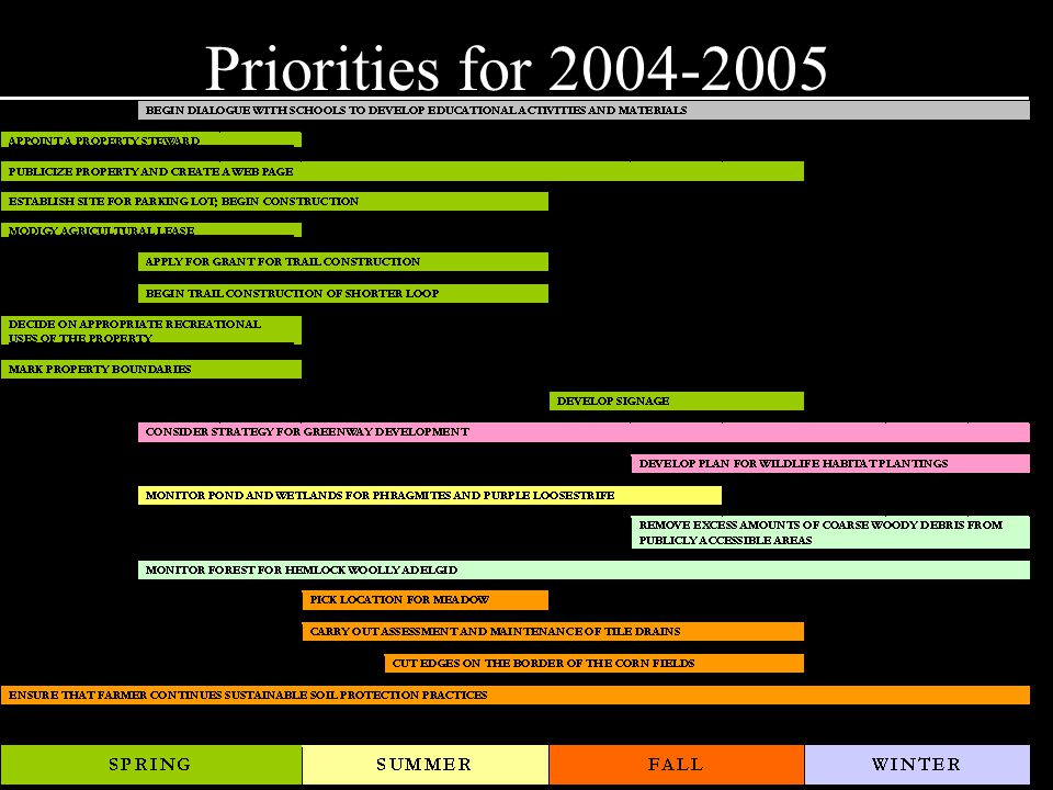Priorities for 2004-2005