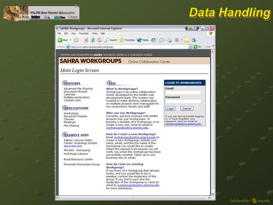 luis.bastidasusu.edu Sevilleta San Pedro Data Handling