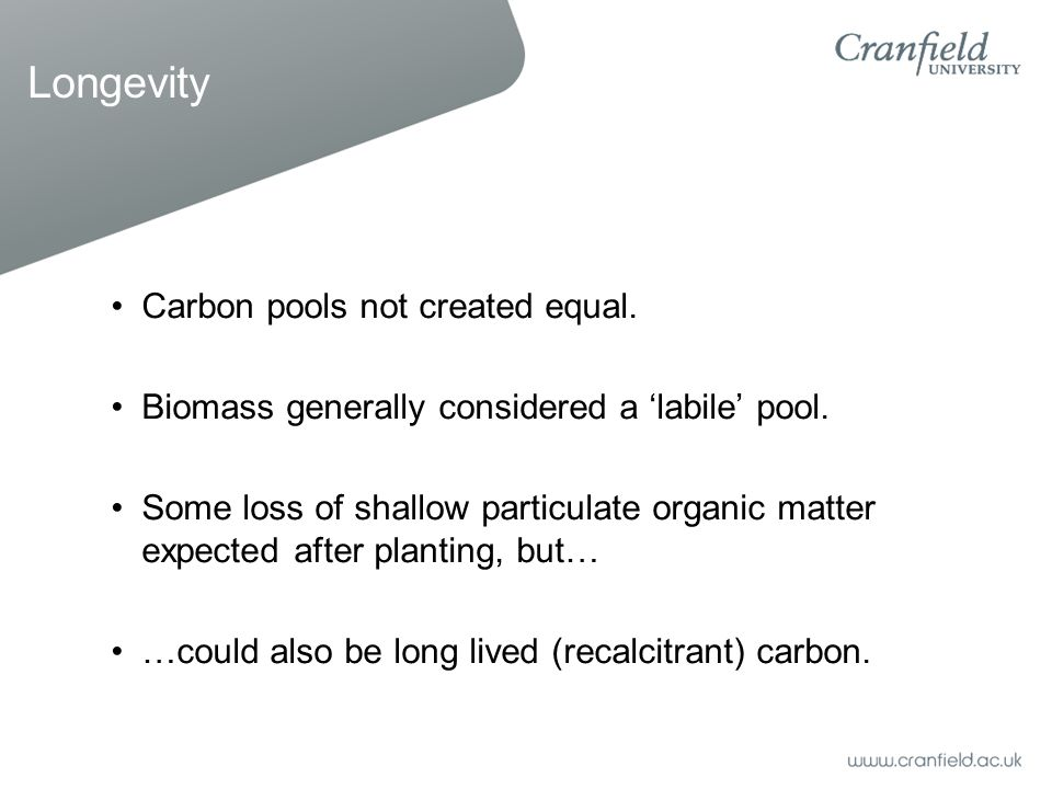 Longevity Carbon pools not created equal. Biomass generally considered a 'labile' pool. Some loss of shallow particulate organic matter expected after