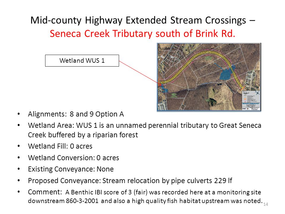 Mid-county Highway Extended Stream Crossings – Seneca Creek Tributary south of Brink Rd.