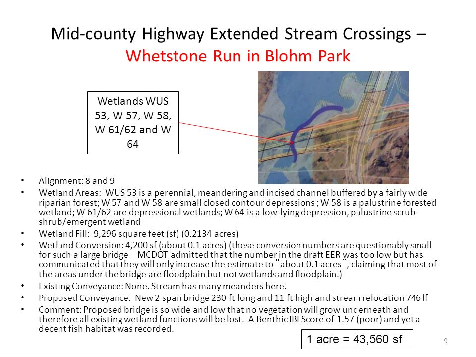 Mid-county Highway Extended Stream Crossings – Whetstone Run in Blohm Park Alignment: 8 and 9 Wetland Areas: WUS 53 is a perennial, meandering and incised channel buffered by a fairly wide riparian forest; W 57 and W 58 are small closed contour depressions ; W 58 is a palustrine forested wetland; W 61/62 are depressional wetlands; W 64 is a low-lying depression, palustrine scrub- shrub/emergent wetland Wetland Fill: 9,296 square feet (sf) (0.2134 acres) Wetland Conversion: 4,200 sf (about 0.1 acres) (these conversion numbers are questionably small for such a large bridge – MCDOT admitted that the number in the draft EER was too low but has communicated that they will only increase the estimate to about 0.1 acres , claiming that most of the areas under the bridge are floodplain but not wetlands and floodplain.) Existing Conveyance: None.