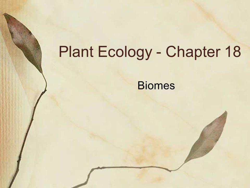 Plant Ecology - Chapter 18 Biomes