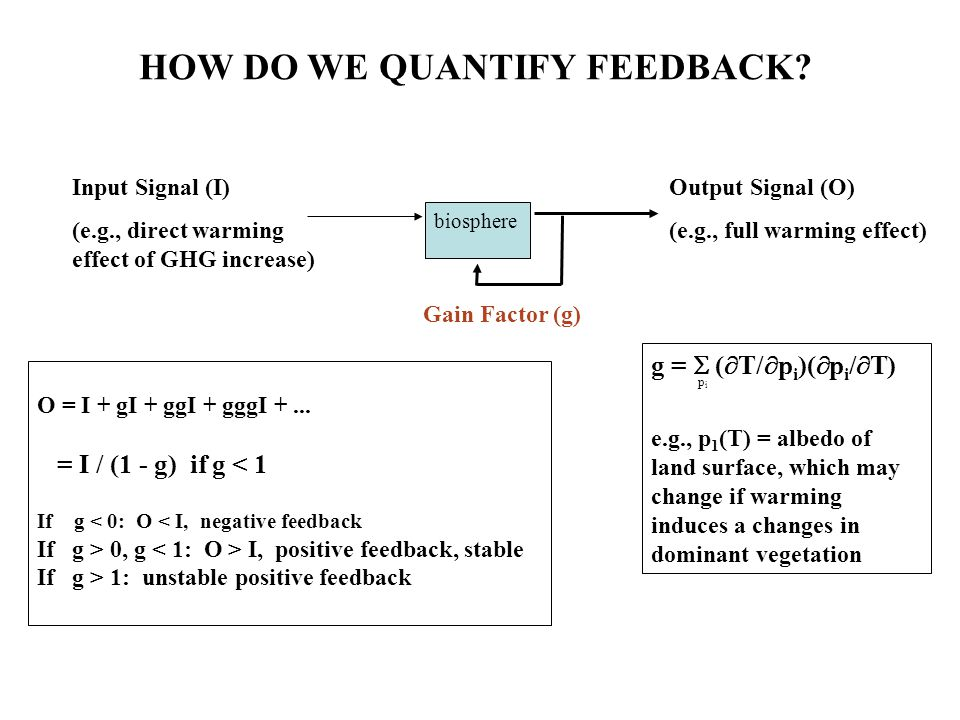 biosphere HOW DO WE QUANTIFY FEEDBACK? O = I + gI + ggI + gggI +... = I / (1 - g) if g < 1 If g < 0: O < I, negative feedback If g > 0, g I, positive