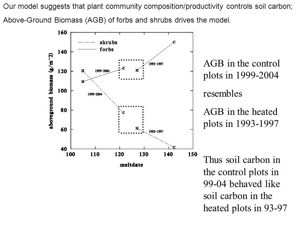 AGB in the control plots in 1999-2004 resembles AGB in the heated plots in 1993-1997 Thus soil carbon in the control plots in 99-04 behaved like soil