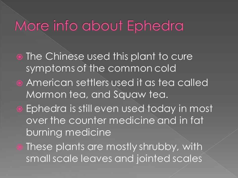  The Chinese used this plant to cure symptoms of the common cold  American settlers used it as tea called Mormon tea, and Squaw tea.