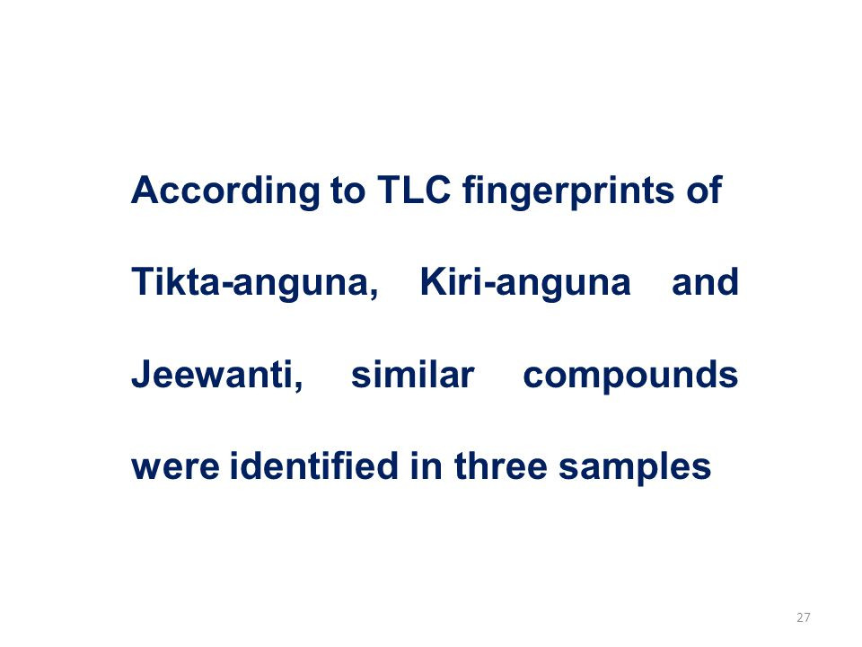 According to TLC fingerprints of Tikta-anguna, Kiri-anguna and Jeewanti, similar compounds were identified in three samples 27