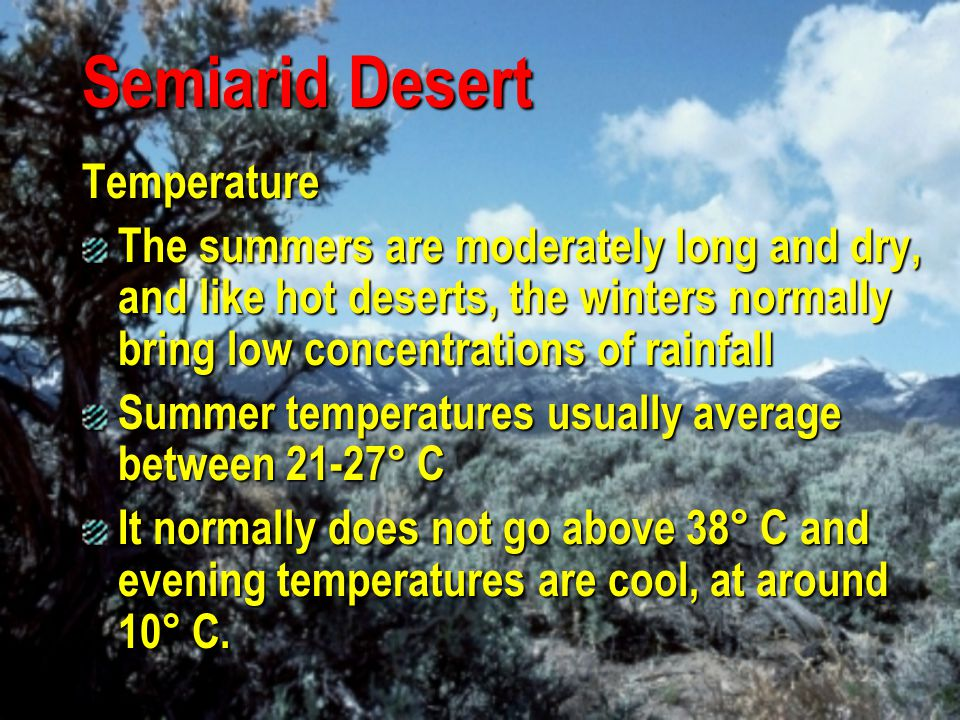 Semiarid Desert Precipitation Cool nights help both plants and animals by reducing moisture loss from transpiration, sweating and breathing Condensation of dew caused by night cooling may equal or exceed the rainfall received by some deserts As in the hot desert, rainfall is often very low and/or concentrated The average rainfall ranges from 2-4 cm annually.