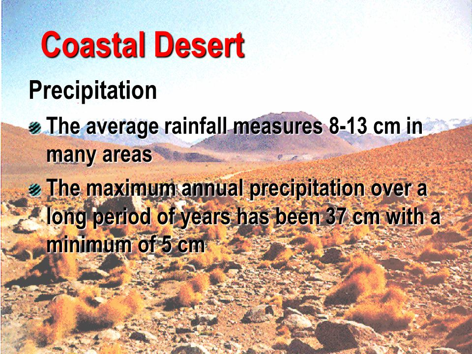 Coastal Desert Soils fine-textured with a moderate salt content fairly porous with good drainage.