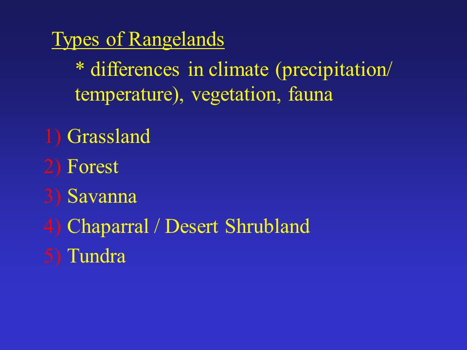 1)Grassland 2)Forest 3)Savanna 4)Chaparral / Desert Shrubland 5)Tundra Types of Rangelands * differences in climate (precipitation/ temperature), vegetation, fauna
