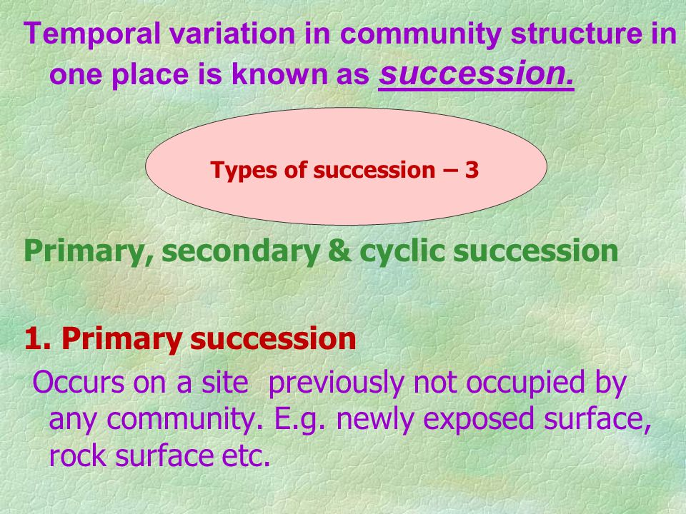 Temporal variation in community structure in one place is known as succession.