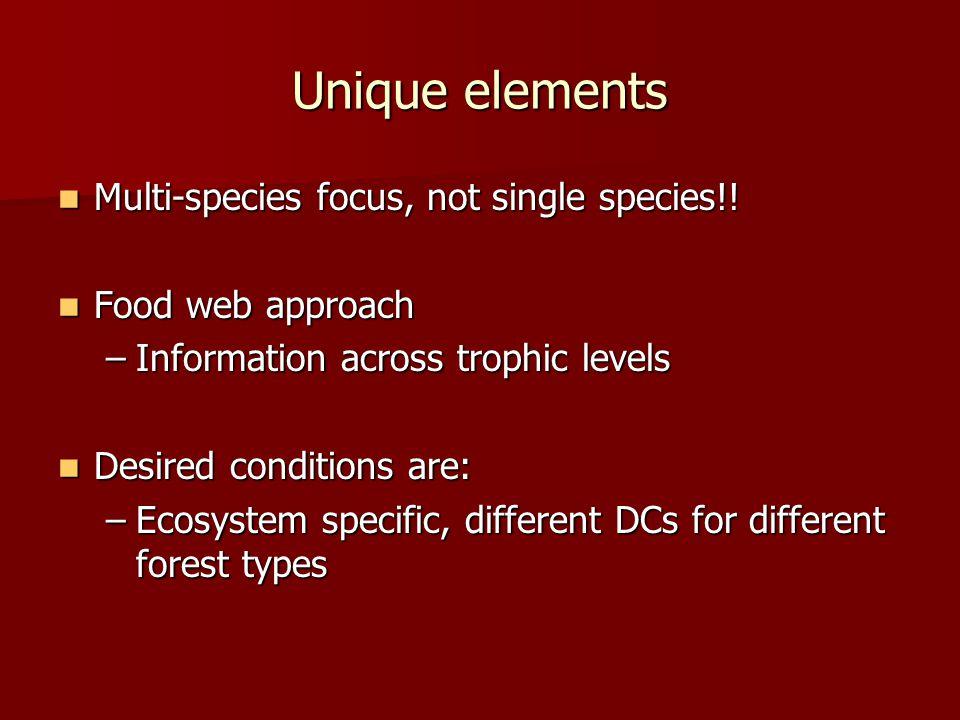 Unique elements Multi-species focus, not single species!.