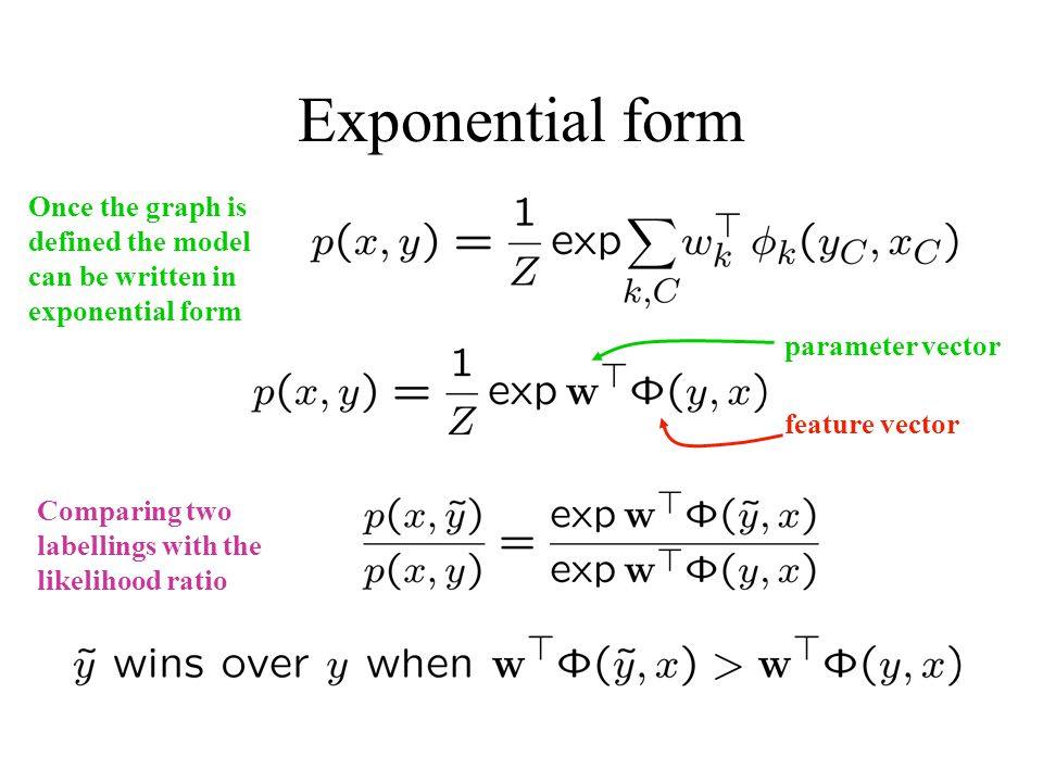 Exponential form Once the graph is defined the model can be written in exponential form feature vector parameter vector Comparing two labellings with