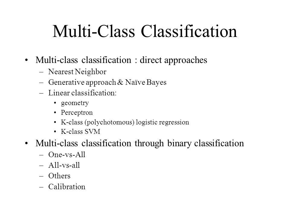 Multi-Class Classification Multi-class classification : direct approaches –Nearest Neighbor –Generative approach & Naïve Bayes –Linear classification: