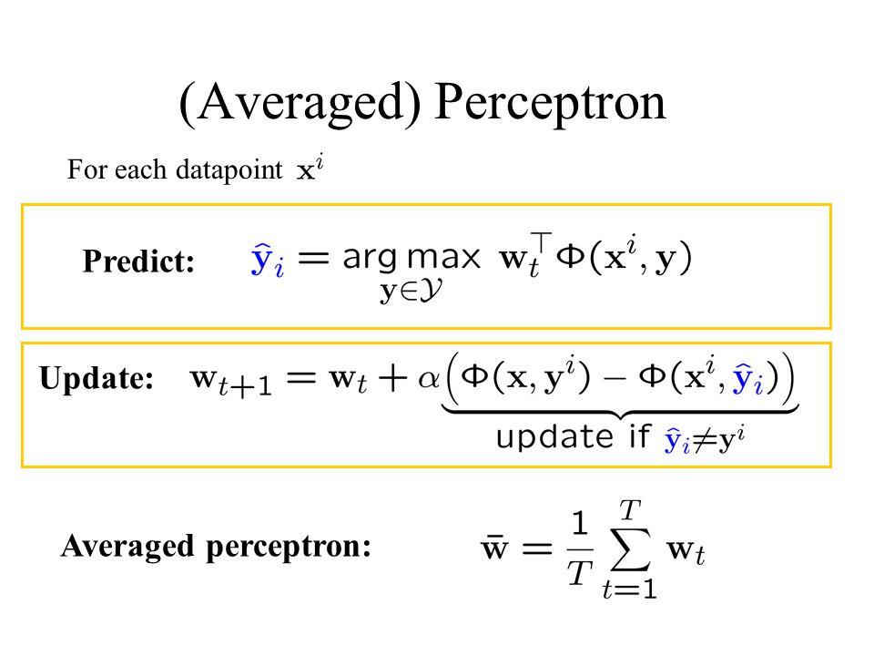 (Averaged) Perceptron For each datapoint Averaged perceptron: Predict: Update: