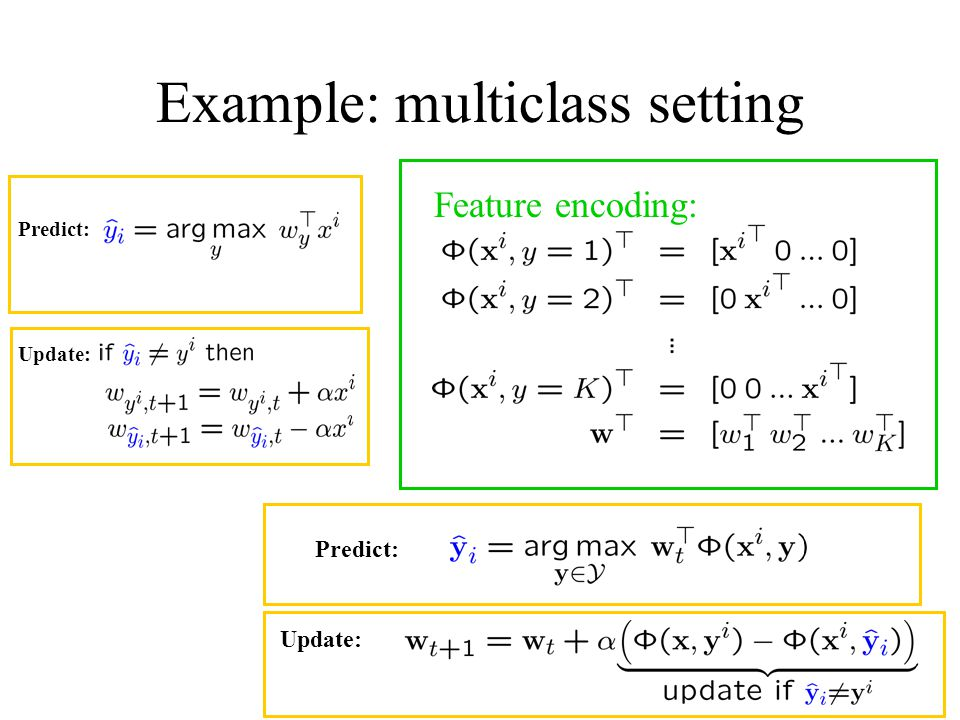 Example: multiclass setting Predict: Update: Feature encoding: Predict: Update: