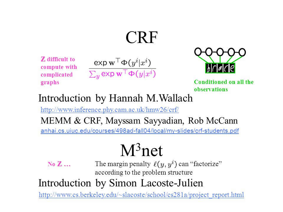 CRF http://www.inference.phy.cam.ac.uk/hmw26/crf/ M 3 net Introduction by Hannah M.Wallach Introduction by Simon Lacoste-Julien http://www.cs.berkeley